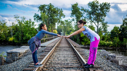 Sisters on Tracks by peterjdejesus