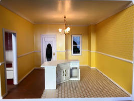 Kitchen in yellow honeycomb theme by Intrinsicat