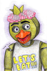 Chica with a wreath of peonies by Sophia62134