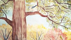 Jay on the oak by Olya19