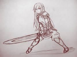 Swordgirl - Doodle by Anonenone-mon