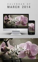Freebie: Wallpaper Calendar of March 2014 by yahya12