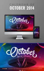 Freebie: Wallpaper Calendar of October 2014 by yahya12