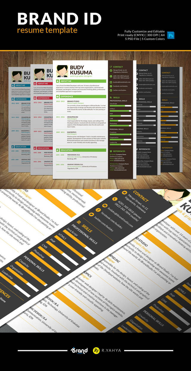 Brand ID Free Resume Template by yahya12