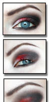 Red and black gothic makeup by aurelia87
