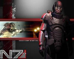 Shepard Wallpaper with helmet by EspionageDB7