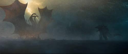 Godzilla King Of The Monsters| Gojira vs Ghidorah by kaproraptor