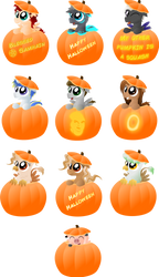 Halloween - Pumpkin Ponies (and a pig) by Java--Jive