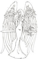Sword Angel - Lineart by DM7DragonFyre