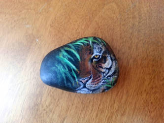 Miniature Tiger Painted Rock by ACD101
