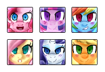 Mane Six Icons by PaperKoalas