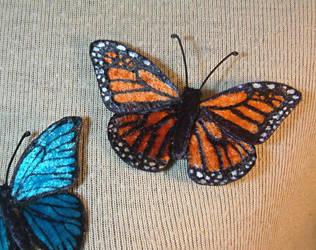 Velvet Monarch butterfly pin by Lluhnij