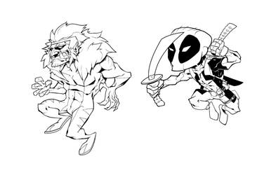 Sabretooth Deadpool inks by dubbery