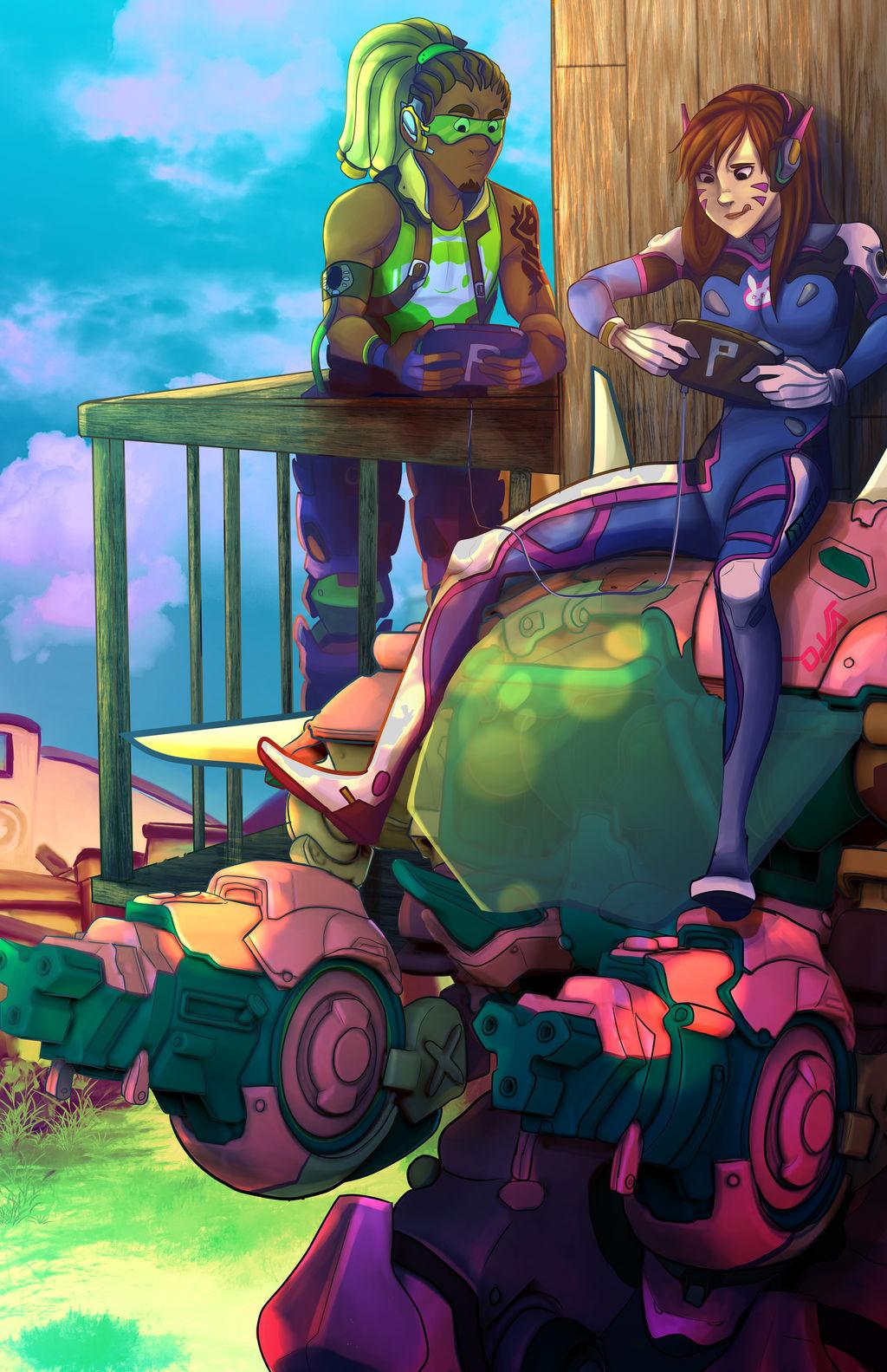 D.Va and Lucio by jelllybears