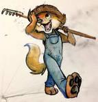 farmer fox doodle by jelllybears