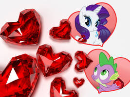 MLP: FiM Rarity and Spike, Fire Ruby Wallpaper by LuckyMerc