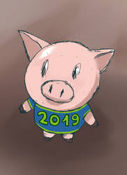 A Pig for New Year by Masanohashi