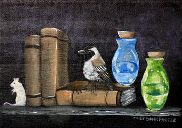 Sparrow with Books by CindysFineArtStudio