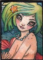 ACEO mermaid Emeraldine by DawnyDawn