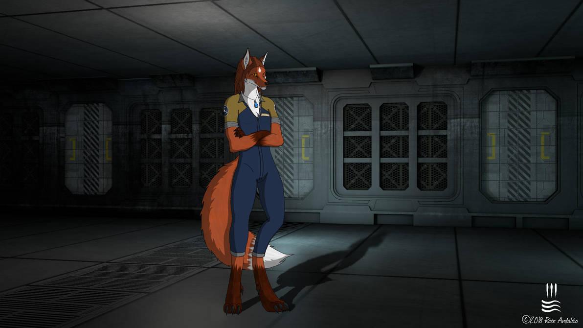 Raen aboard spaceship by Irolan