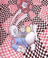 Red Checkers, White Rabbits by Demonic-Apricot