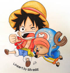 Chibi Luffy and Chopper by niinean