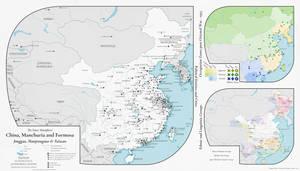 Alternate History Map - China, Manchuria, Formosa by banananaise