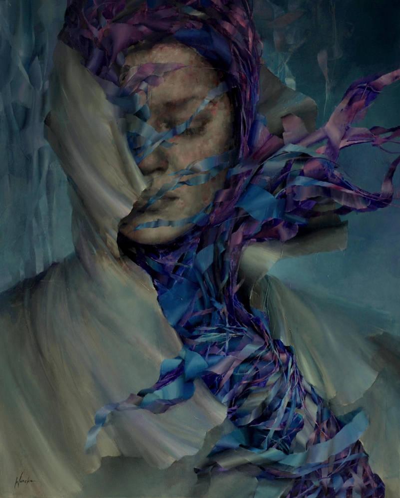 blue, Agnieszka Wencka, 100 x 80 , oil by Wencka