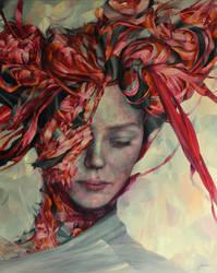 Red, 100 x 80, oil on canvas, Agnieszka Wencka by Wencka