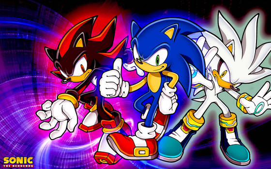 Sonic,Shadow And Silver Wallpaper by SonicTheHedgehogBG