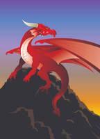 Dragon on Mountain Top by tadamson