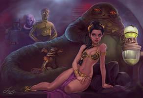 Princess Leia and Jabba by kamillyonsiya