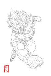 Goku SSJ2 Attack Lineart by SnaKou