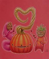 Valentine pumpkin and tiki monsters - sketch by grelin-machin