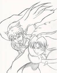 Inuyasha vs Sesshomaru pencils by UchenduArt