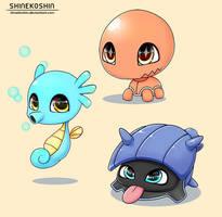 Baby Pokemon: Trapinch, Shellder and Horsea by shinekoshin