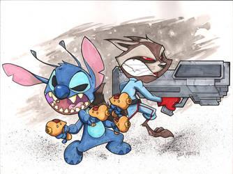 Rocket Raccoon and Stitch Battle by Bloodzilla-Billy