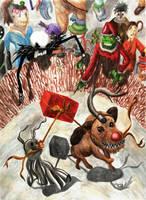 Christmas dog fight by Ezequielmercado