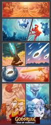 Godsrule - War of Mortals intro panels by madebydori