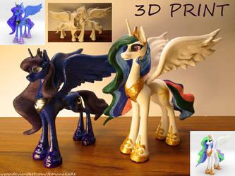 Celestia and Luna 3D-prints by Teonanakatle