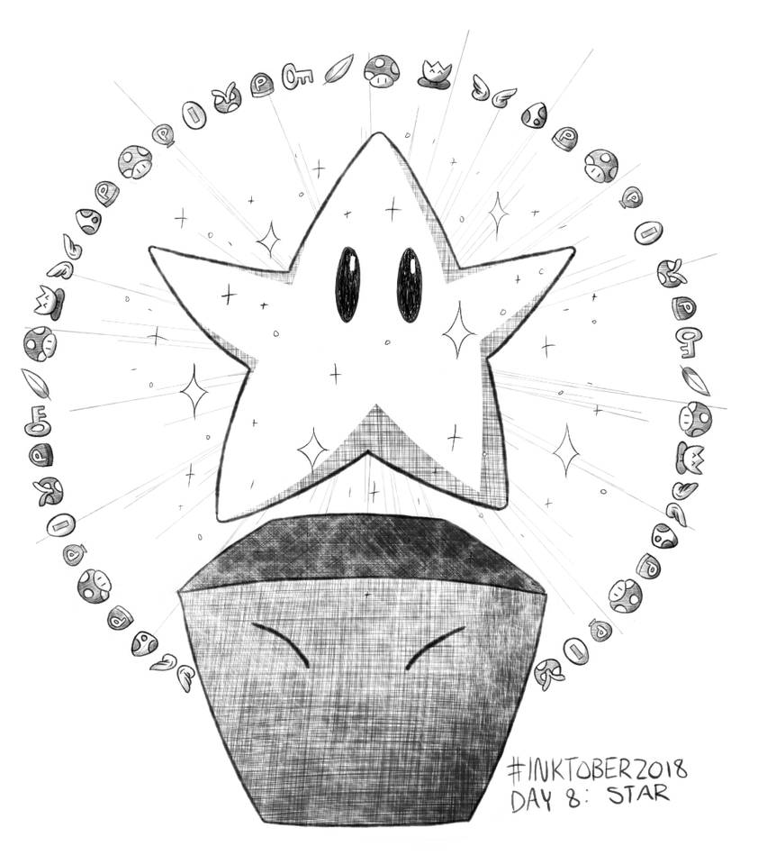 Inktober 2018 Day 8: Star by Dotsarecool