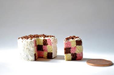 Checkerboard Neapolitan Cake by eserenitia