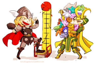 Thor Loki Plushies by mystcloud
