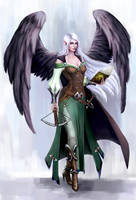 Winged elf by Kceon