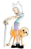 Finn and jake One Piece style by nounouille