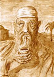 Arab Elder with Coffee by Qodaet