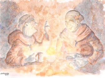 Monks Drinking by Qodaet