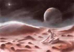 Frozen Robot on Pluto by Qodaet