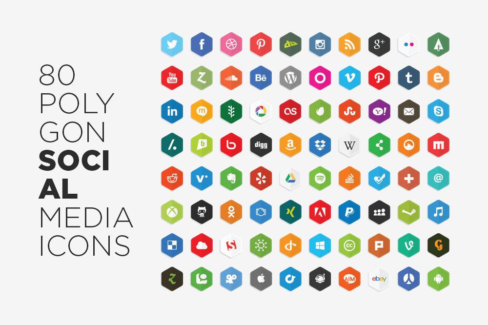 Free Vector Polygon Social Media Icons by LunarPixel
