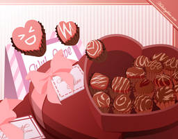 February: Choco and Hearts by ruina